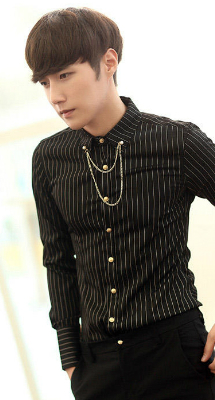 Pinstriped Shirt with Collar Chain