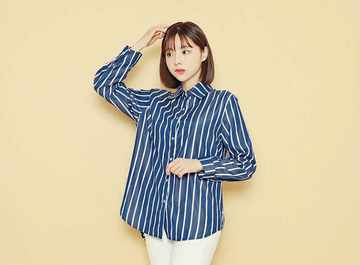 HOTPING - Dip-Back Striped Shirt