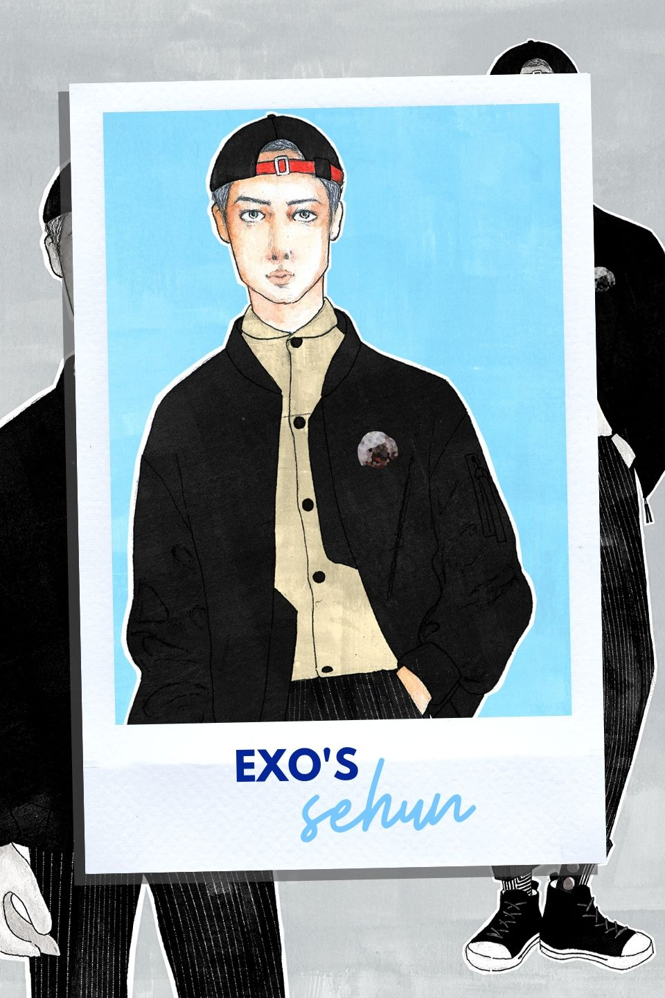 Mixed media portrait illustration of Sehun from EXO in an all black outfit on a polaroid