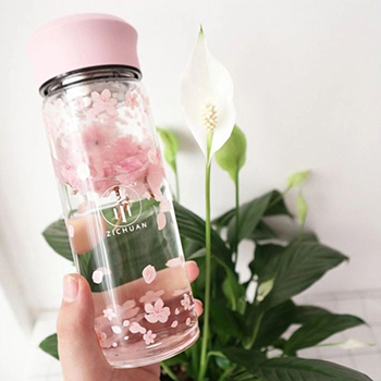 Cherry Blossoms Glass Drinking Bottle